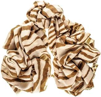 Black Coffee and Cream Zebra Print Silk and Merino Wool Scarf