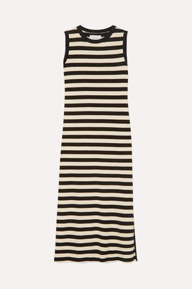 Current/Elliott The Perfect Muscle Tee Striped Cotton-jersey Dress - Black