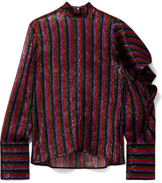 Petar Petrov Asymmetric Striped Silk-blend Lamé Top - Plum
