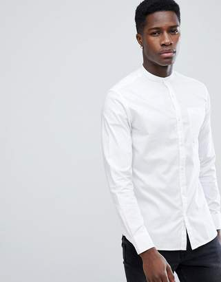 Jack and Jones Slim Fit Grandad Collar Shirt In Linen Mix