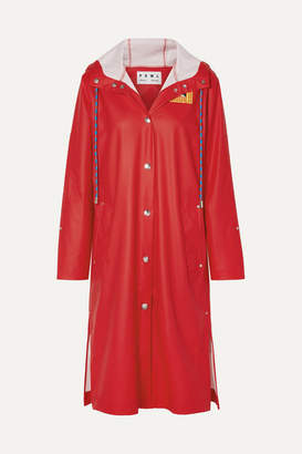 Proenza Schouler Pswl Hooded Printed Rubber Raincoat - Red
