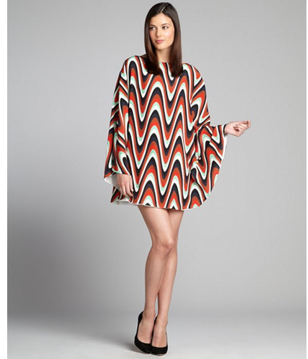 M Missoni red and turquoise printed chain detailed caftan dress