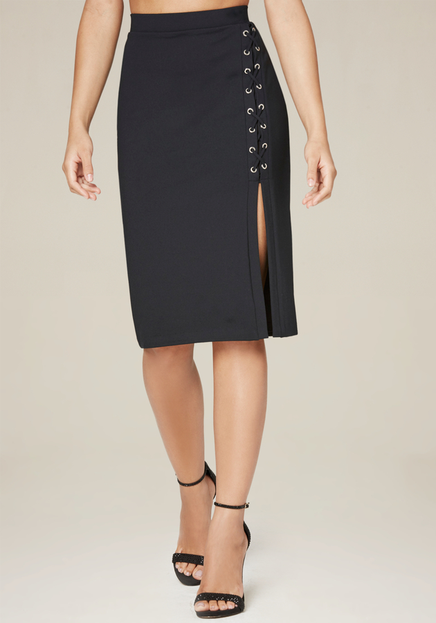 Side Lace Up Midi Skirt