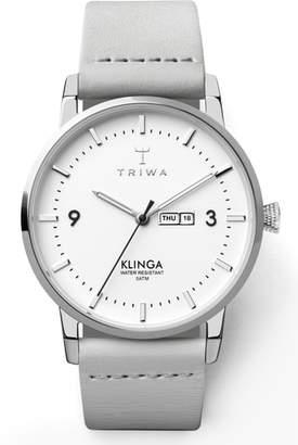 Triwa Snowy Klinga Leather Strap Watch, 38mm