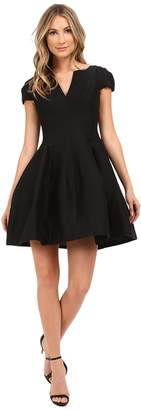 Halston Short Sleeve Notch Neck Dress with Tulip Skirt Women's Dress