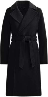 Ralph Lauren Wool-Cashmere Wrap Coat Black 8