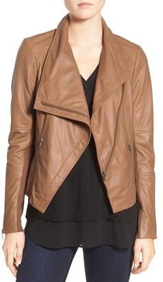 Women's Trouve Drape Front Leather Jacket $329 thestylecure.com