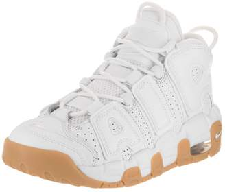 Nike Air More Uptempo (GS) White/White/Bmb/Gm Lght Brwn Basketball Shoe 7 Kids US