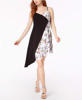 Bar III Colorblocked Sleeveless Asymmetrical-Hem Dress, Created for Macy's