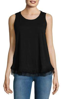 Lord & Taylor Tulle-Trim Sleeveless Cotton Top