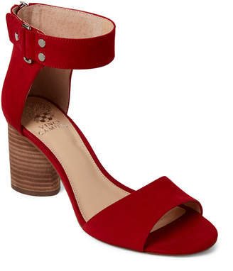 Vince Camuto Cherry Red Jannali Ankle Strap Nubuck Sandals