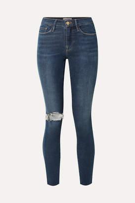 Frame Le Skinny De Jeanne Distressed Mid-rise Jeans - Dark denim