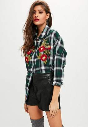 Missguided Green Plaid Embroidered Oversized Shirt