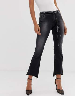 Replay high rise cropped jeans with stepped hem and logo woven belt