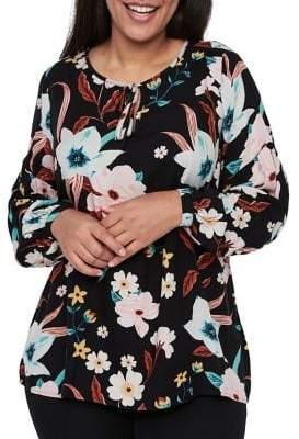 Junarose Plus #518 Porcely Floral Long-Sleeve Blouse