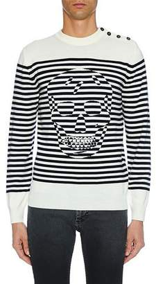 Alexander McQueen Men's Crewneck Striped Graphic Long-Sleeve Shirt
