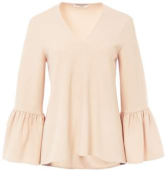 Tibi Structured Crepe V-Neck Ruffle Sleeve Top in Nude
