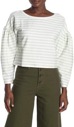 Lumiere Boat Neck Striped Balloon Sleeve Sweater