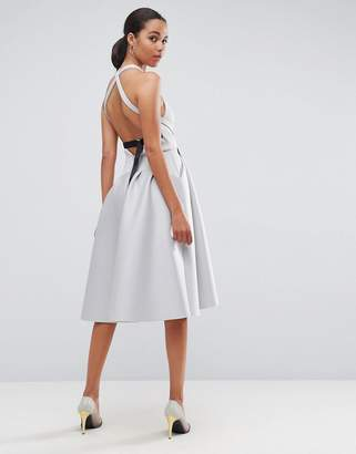 Asos DESIGN PREMIUM Cross Back D Ring Prom Midi Dress