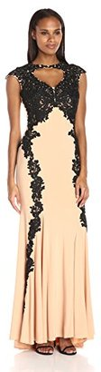 Betsy & Adam Women's Lace and Jersey Gown $299 thestylecure.com