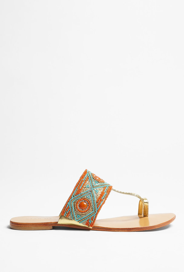 Star Mela Imani Orange And Turquoise Flat Beaded Sandals