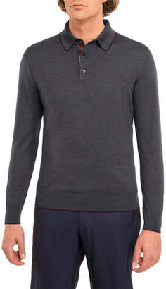 Stefano Ricci Crocodile-Trim Wool-Silk Polo Sweater