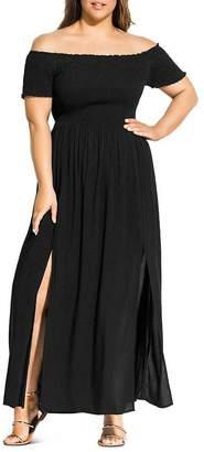 City Chic Plus Summer Passion Off-the-Shoulder Maxi Dress