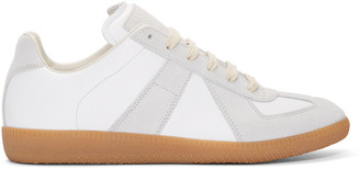 Maison Margiela White & Grey Leather Replica Sneakers $470 thestylecure.com