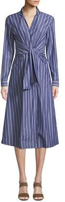 Lafayette 148 New York Kylo Concord Stripe Long-Sleeve Wrap Dress