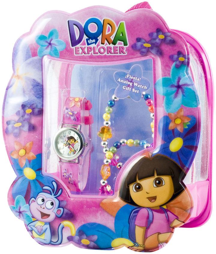 Nickelodeon Dora Watch & Flower Bracelet Gift Set
