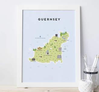 Pepper Pot Studios Map Of Guernsey Print