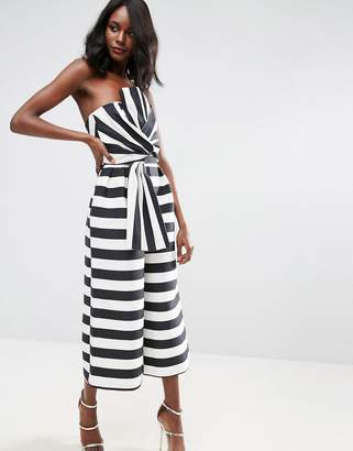 ASOS Jumpsuit in Structured Stripe with Knot and Drape Detail $98 thestylecure.com