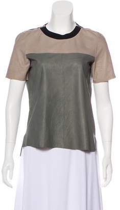 Rebecca Taylor Leather Colorblock Top