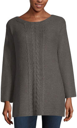Liz Claiborne Womens Boat Neck Long Sleeve Pullover Sweater