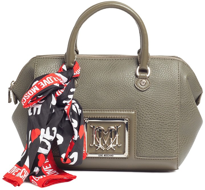 Love Moschino LOVE Moschino Pebbled Monogram Satchel