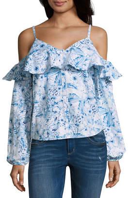 BELLE + SKY Womens V Neck Long Sleeve Poplin Blouse
