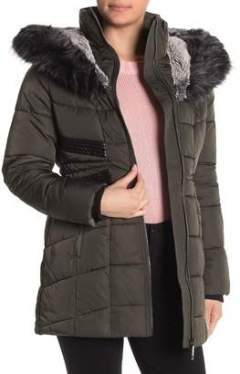 Nicole Miller Faux Fur Lined Hood Quilted Coat