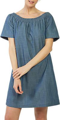 Fat Face Eleanor Bardot Dress, Chambray