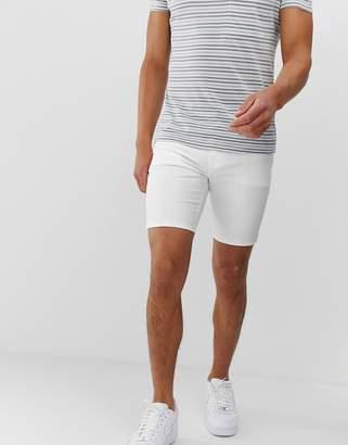 Asos Design DESIGN spray on denim shorts in power stretch white