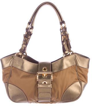 pradaPrada Leather-Accented Tessuto Bag