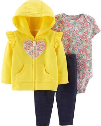 Carter's Baby Girl Heart Hoodie, Floral Bodysuit & Jeggings Set