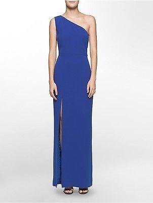 Calvin KleinCalvin Klein Womens One-Shoulder Slit Gown Dress