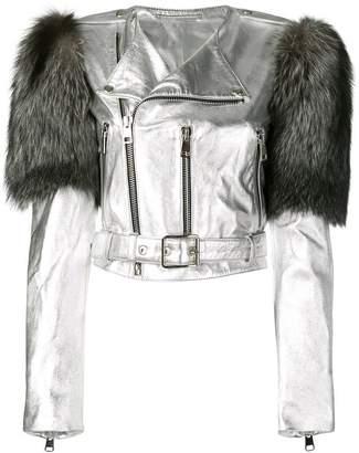 Manokhi fox fur shoulder jacket