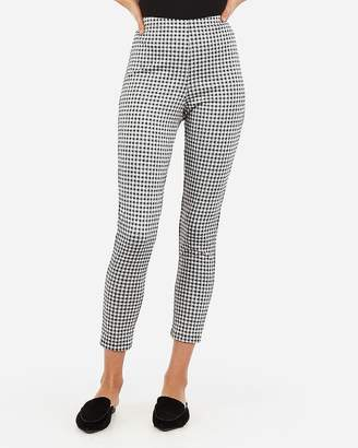 Express High Waisted Cropped Gingham Pull-On Leggings