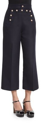 Marc Jacobs Swan-Embellished Cropped Sailor Pants, Navy $2,100 thestylecure.com