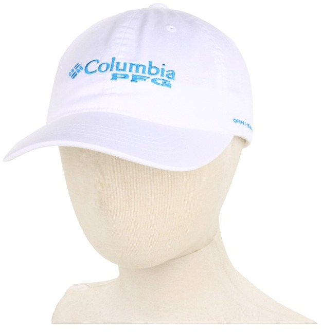 Columbia Kids - Adjustable Ball Cap (Youth) (White/Compass Blue PFG) - Hats