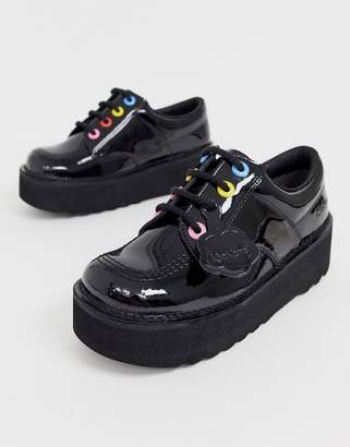 Kickers Kick Lo stack black leather patent flat shoes with multi colour eyelets