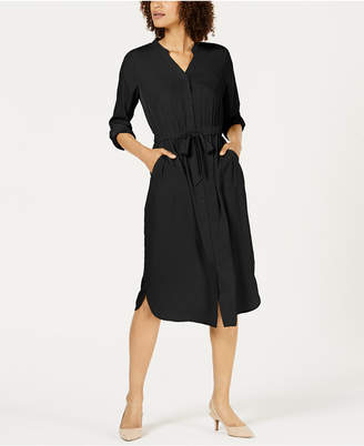 Alfani V-Neck Roll-Tab Shirt Dress