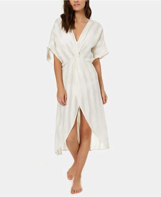 O'Neill Juniors' Edie Cotton Textured-Stripes Kimono Cover-Up Women Swimsuit