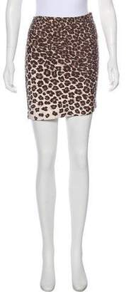 Herve Leger Animal Print Bandage Skirt